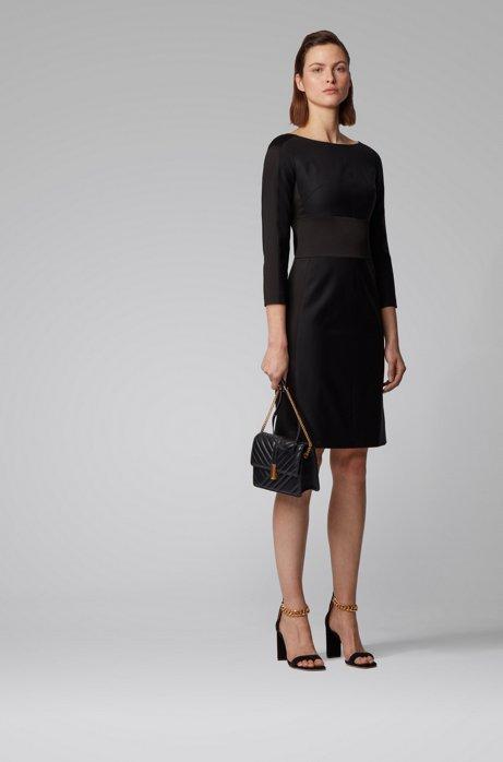Tuxedo-inspired dress in a wool blend, Black