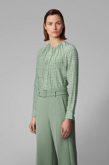 Pure-silk blouse with dot print and gathered neckline, Patterned
