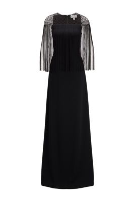 Satin-back crepe evening gown with macramé and fringe detailing, Black