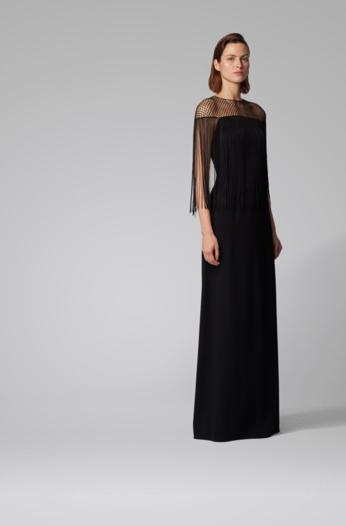Satin-back crepe evening gown with macramé and fringe detailing