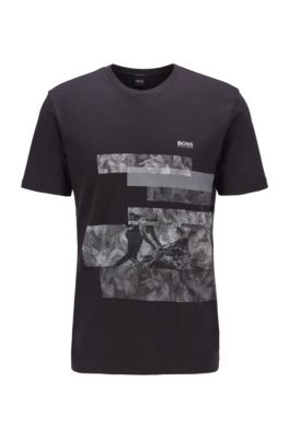 Regular-fit T-shirt in cotton with geometric pattern , Black