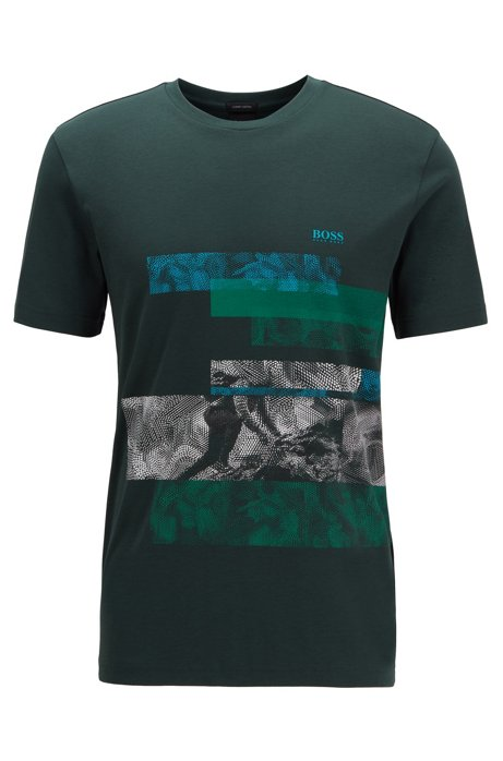 Regular-fit T-shirt in cotton with geometric pattern , Open Green