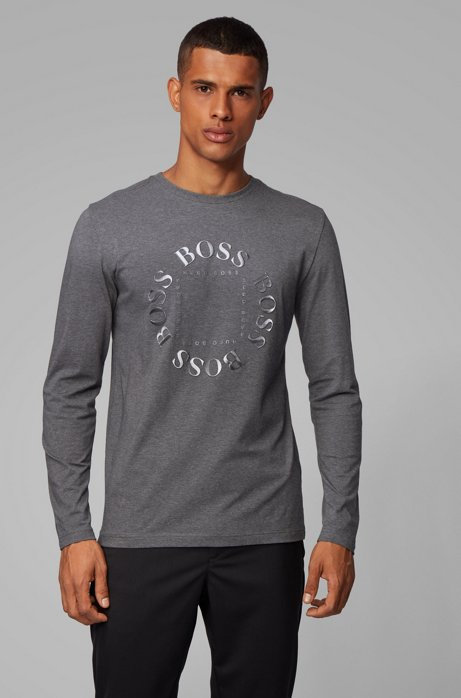 Regular-fit T-shirt in stretch cotton with reflective logo, Grey