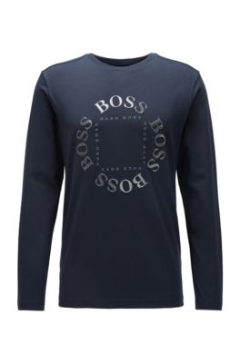 Regular-fit T-shirt in stretch cotton with reflective logo, Dark Blue