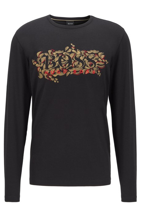 Regular-fit T-shirt with Chinese-New-Year graphic, Black