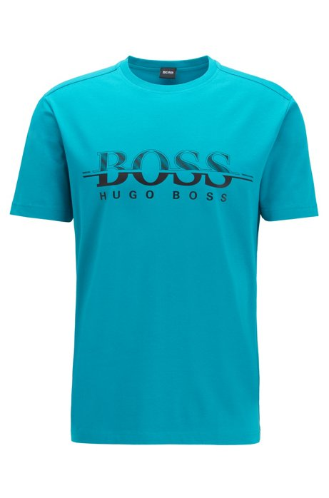 Logo-print T-shirt in stretch-cotton interlock jersey, Green