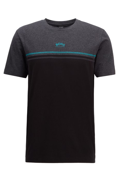 Stretch-cotton T-shirt with contrast stitching and curved logo, Black