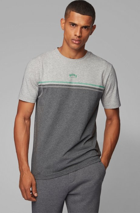 Stretch-cotton T-shirt with contrast stitching and curved logo, Grey