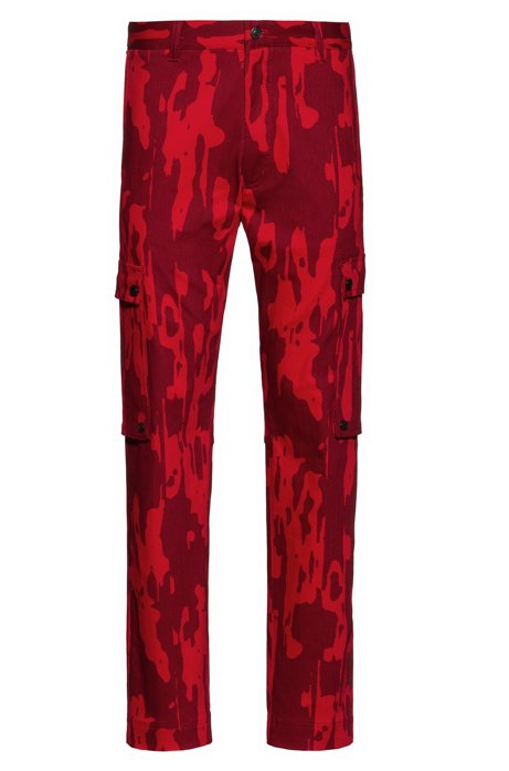 Regular-fit cargo pants with camouflage print, Open Pink