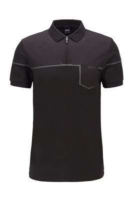 Slim-fit polo shirt in cotton with S.Café® , Black