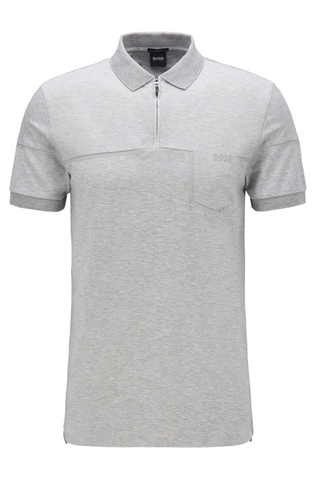 Slim-fit polo shirt in cotton with S.Café® , Light Grey
