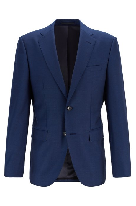 Regular-fit jacket in micro-patterned virgin wool serge, Open Blue