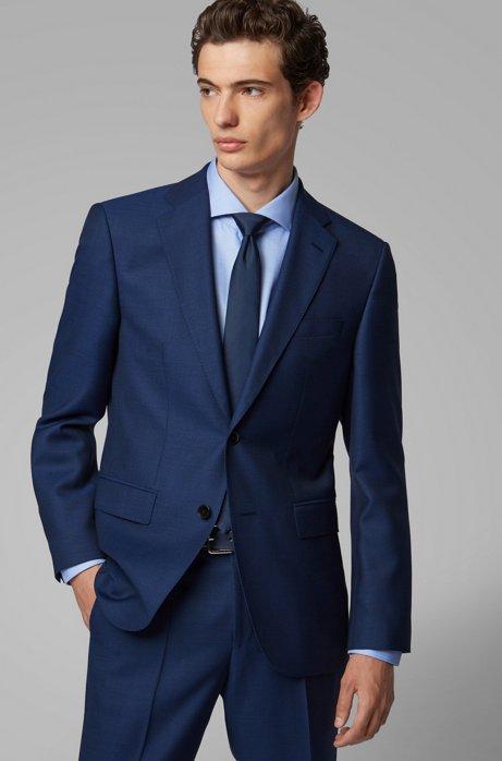 Regular-fit jacket in micro-patterned virgin wool serge, Open Blue