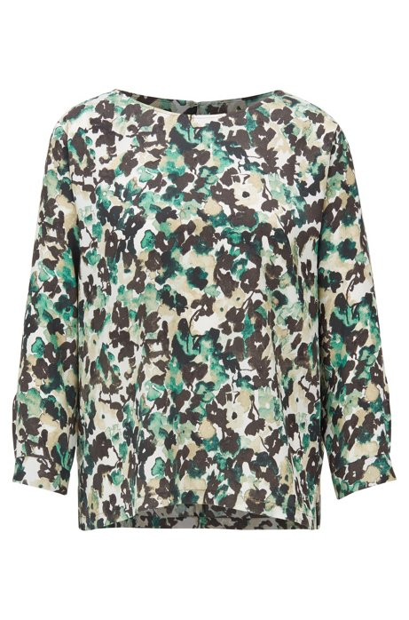 Wide-neck top with floral camouflage print, Patterned