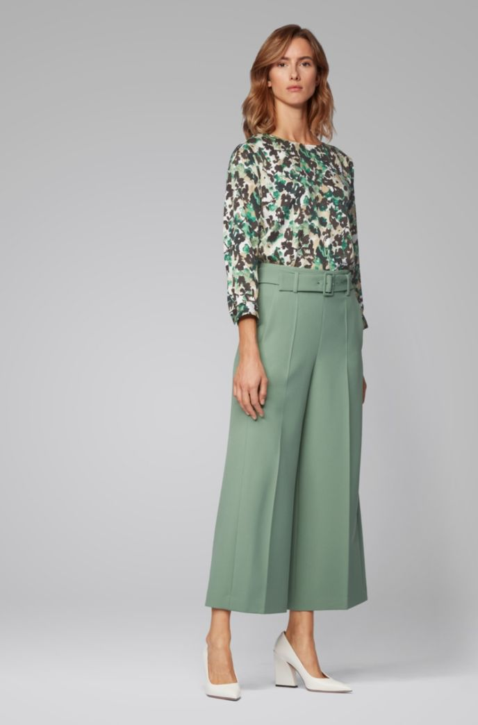 Wide-neck top with floral camouflage print