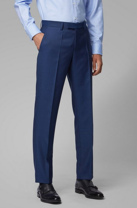 Regular-fit pants in micro-patterned virgin wool, Open Blue