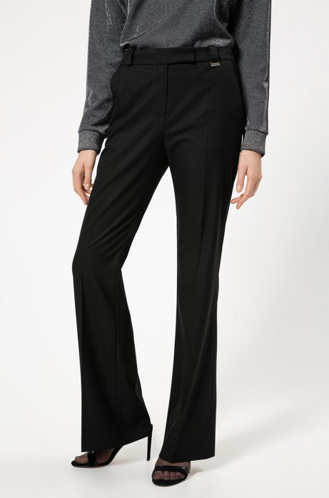 Regular-fit pants with kick-flare hems, Black