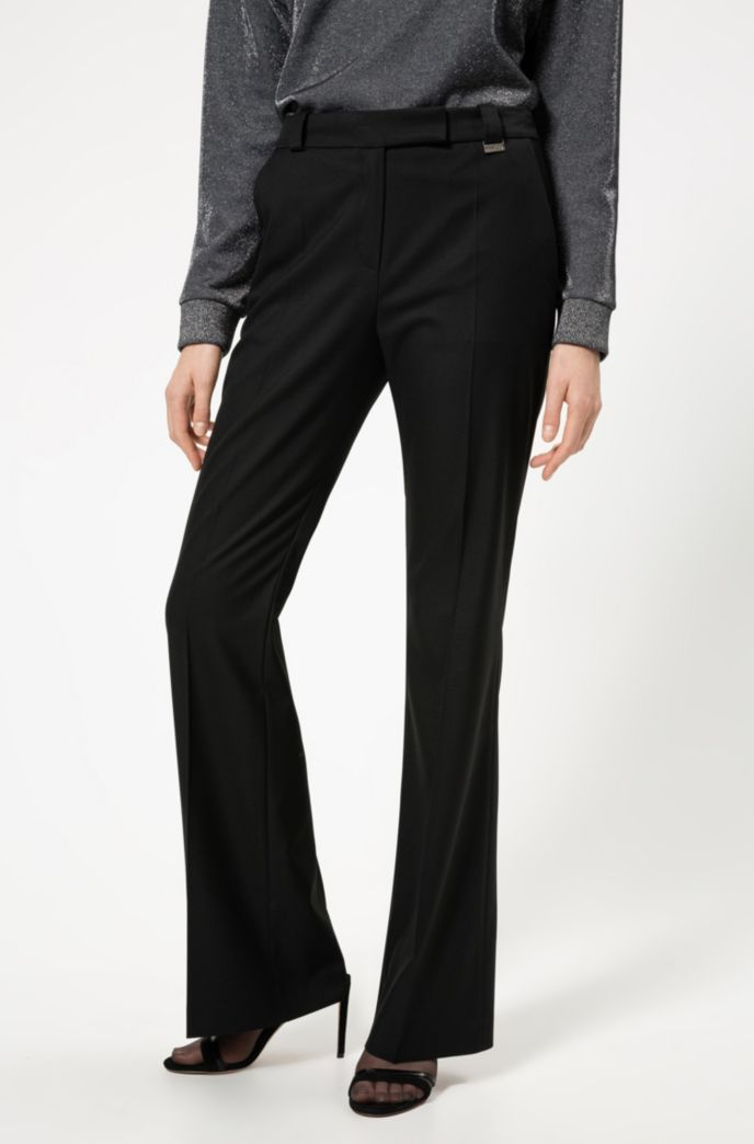 Regular-fit pants with kick-flare hems
