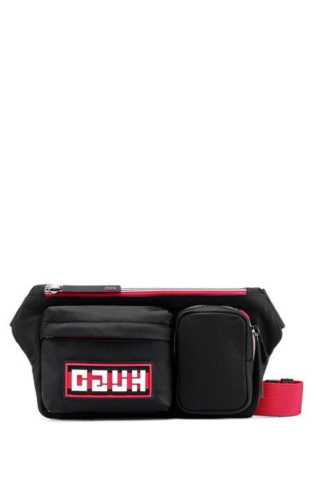 Reverse-logo belt bag in nylon gabardine, Black