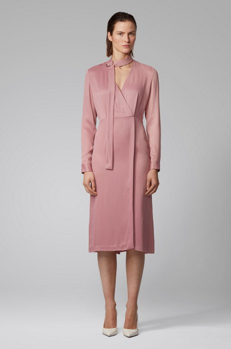Long-sleeved twill dress with detachable bow tie detail, light pink