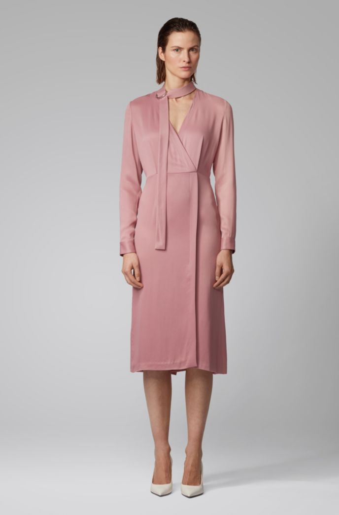 Long-sleeved twill dress with detachable bow tie detail