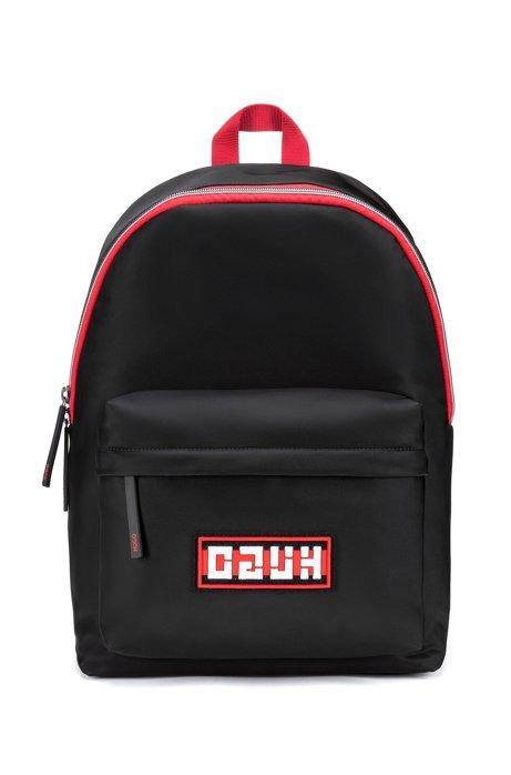 Nylon-gabardine backpack with reverse-logo badge, Black