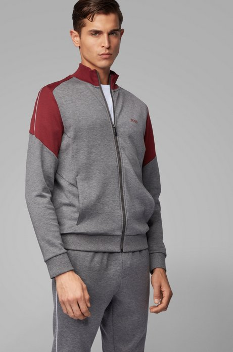 Regular-fit tracksuit with color-blocking, Grey