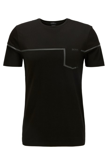 Slim-fit mixed-material T-shirt with S.Café®, Black