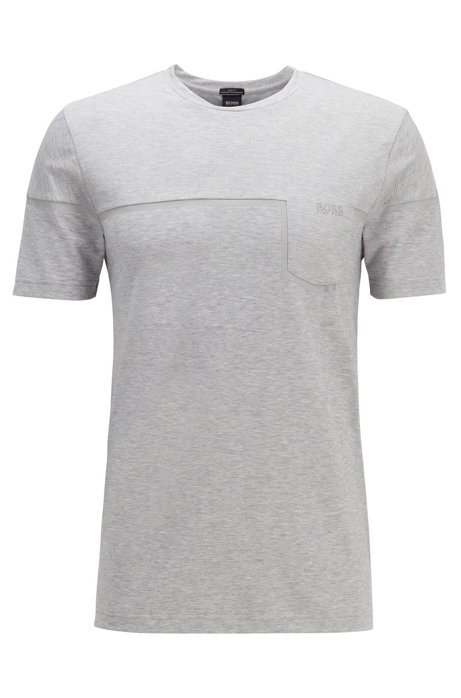 Slim-fit mixed-material T-shirt with S.Café®, Light Grey