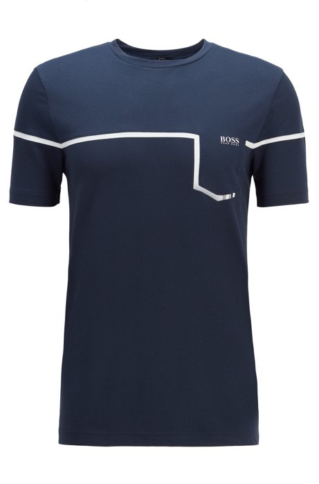 Slim-fit mixed-material T-shirt with S.Café®, Dark Blue
