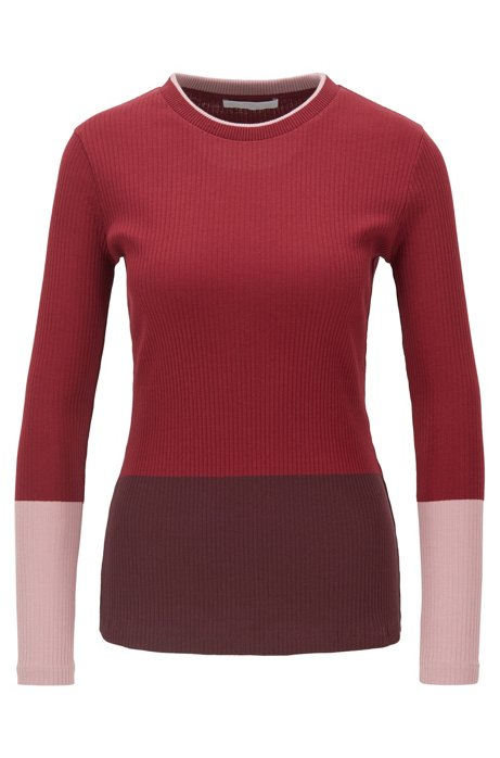 Color-block jersey top in ribbed cotton, Patterned