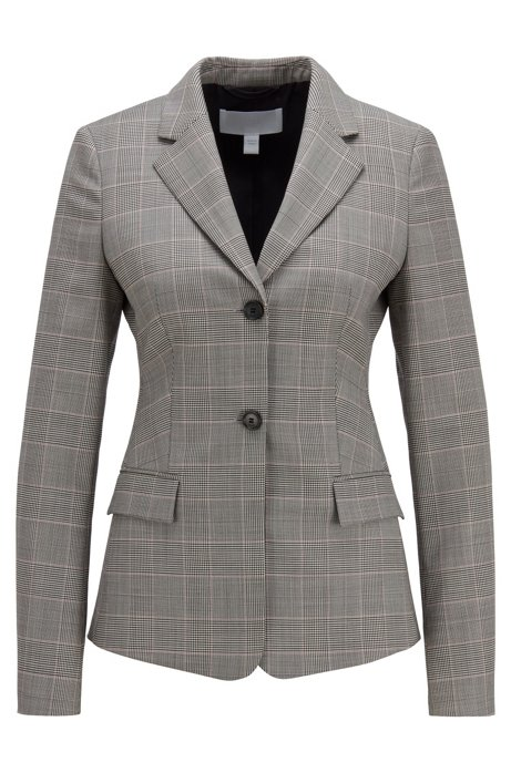 Glen-check regular-fit jacket in Italian virgin wool, Patterned