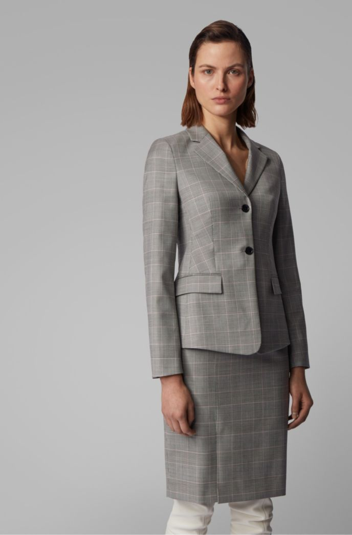 Glen-check regular-fit jacket in Italian virgin wool