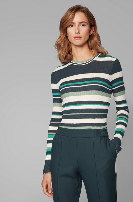 Slim-fit jersey top with collection-colored stripes, Patterned