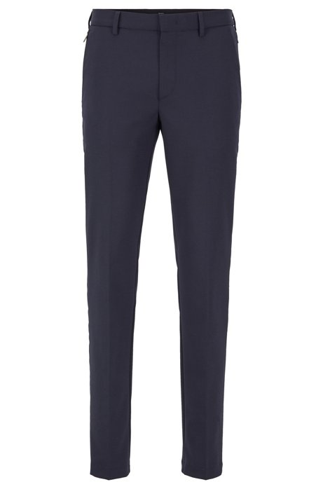 Slim-fit chinos in travel-friendly stretch twill, Dark Blue