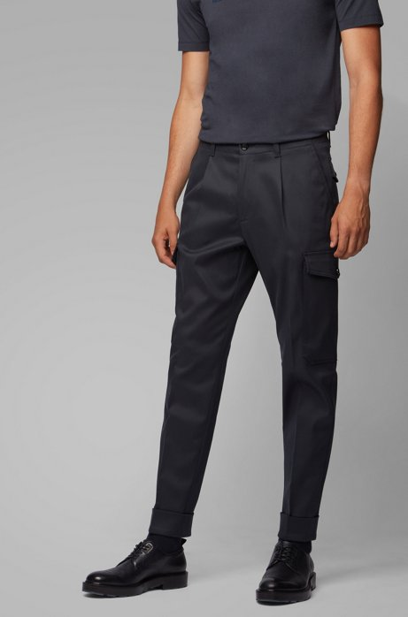 Relaxed-fit cargo pants in Italian fabric, Dark Blue