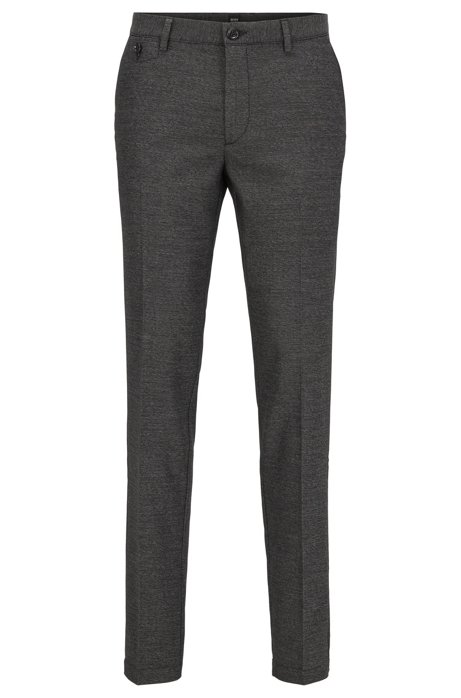 Slim-fit pants with monogram-print interior, Black