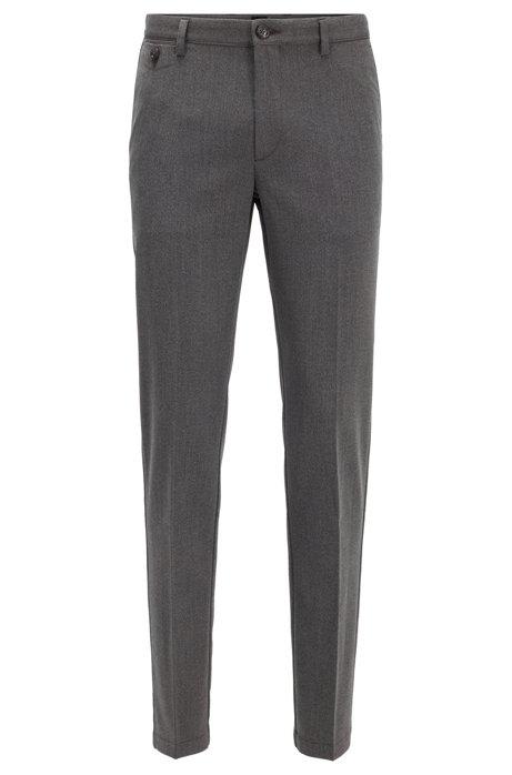 Slim-fit pants with monogram-print interior, Grey