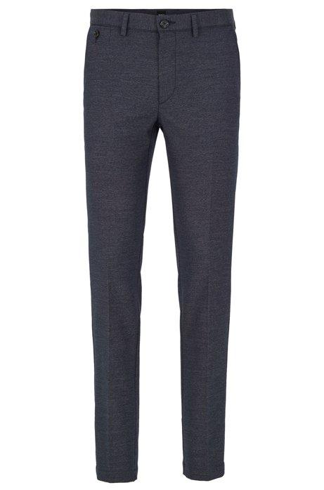Slim-fit pants with monogram-print interior, Dark Blue