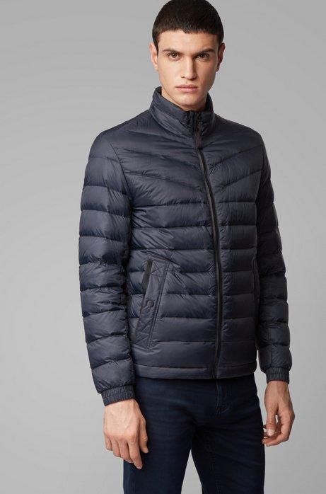 Lightweight slim-fit down jacket with water-repellent finish, Dark Blue