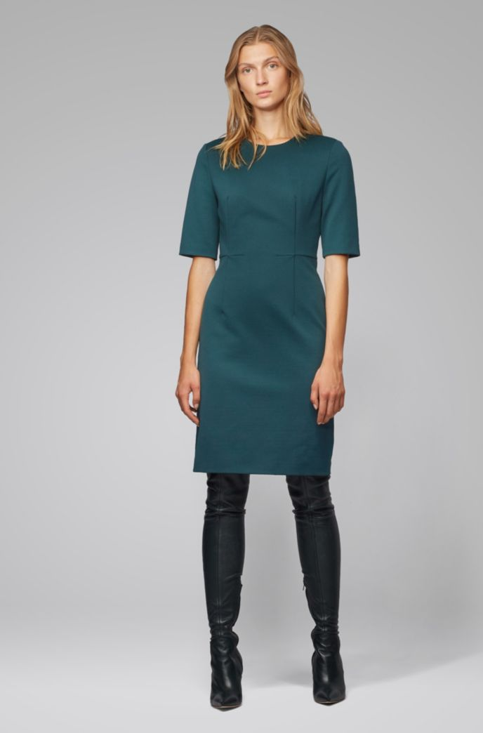 Shift dress in houndstooth-structured jersey with zip
