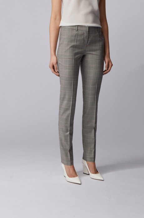 Regular-fit checked pants in stretch virgin wool, Patterned