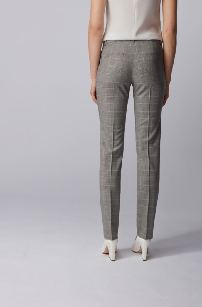 Regular-fit checked pants in stretch virgin wool