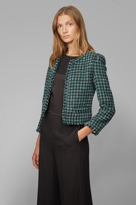 Regular-fit jacket in checked tweed with fringed edges, Patterned