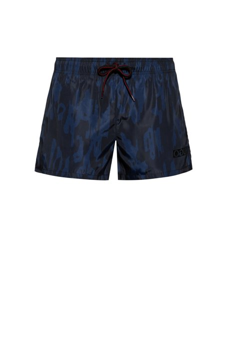 Quick-dry short-length swim shorts with camouflage print, Light Blue