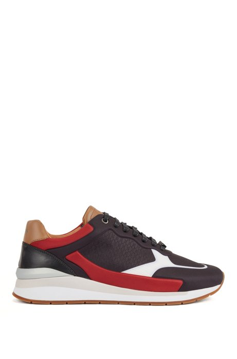 Running-inspired trainers in leather with monogram panels, Black