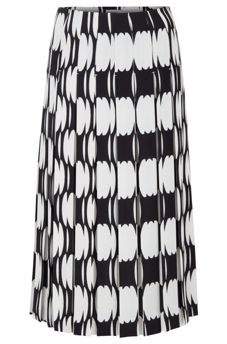 Plissé midi skirt with collection motif, Patterned