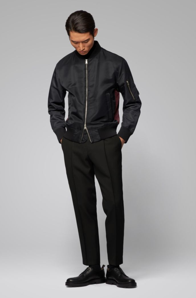 Regular-fit jacket with contrast side panels