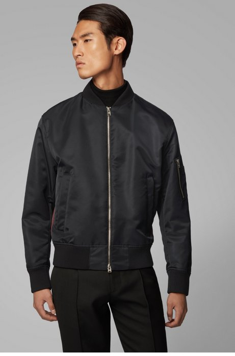 Regular-fit jacket with contrast side panels, Black