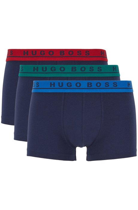 Three-pack of trunks with logo waistbands, Patterned